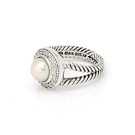David Yurman Diamond Pearl Sterling Silver Cocktail Ring Size - 5