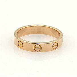 Cartier Mini Love 18k Pink Gold 3.5mm Wide Band Ring Size 50-US 5