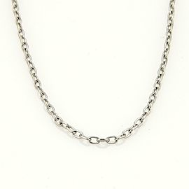"Tiffany & Co. 18k White Gold Oval Link Chain Necklace 24"" Long"