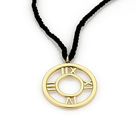 Tiffany & Co. ATLAS 18k Yellow Gold Large Round Pendant & Cord Necklace