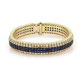 Estate Diamond & Invisibly Set Princess Sapphires 18k Yellow Gold Bracelet