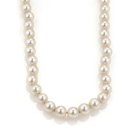"Vintage 7.8mm Akoya Salt Water Single Strand Pearl Necklace 30"" Long"