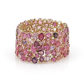 Estate 151 Carats Pink Sapphire & Diamond 18k Yellow Gold Wide Bracelet