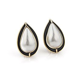 Estate Onyx & Mabe Pearl 14k Yellow Gold Pear Shape Post Clip Earrings