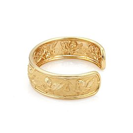 Carrera y Carrera 18k Yellow Gold Musical Cherub Wide Cuff Bracelet