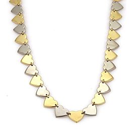 Vintage 14k Two Tone Gold All Around Heart Link Necklace