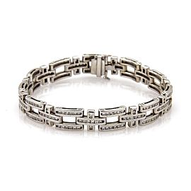 14k White Gold 5.50ctw Diamond Open Bar & Cross Link 9mm Wide Bracelet