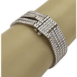18k White Gold 26 Carats Diamond 4 Strand Cube Chain Link Bracelet