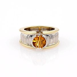 Georg Jensen 18K 2 Tone Gold 1ct Citrine Solitaire Band Ring