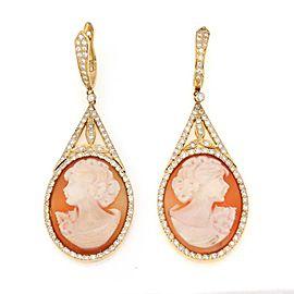 Vintage 3 Carats Diamond 18k Yellow Gold Shell Cameo Long Dangle Earrings