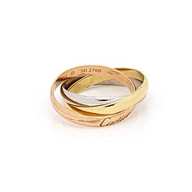 Cartier Trinity 18k Tri-Color Gold 2.5mm Rolling Band Rings Size 51-US 5.75