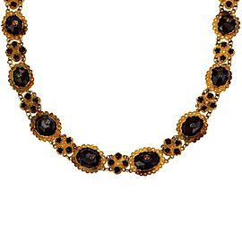 Vintage Garnet 14k Yellow Gold Floral Link Collar Necklace