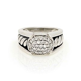David Yurman Diamond Sterling Silver Cable Band Ring Size 6