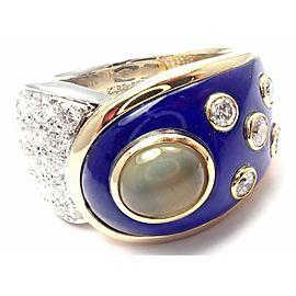 Rare! Authentic Mikimoto Platinum & 18k Gold Diamond Cats Eye Enamel Band Ring