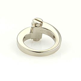 Cartier Menotte 18k White Gold Screw Top Bypass Ring Size EU 49-US 5 Cert.
