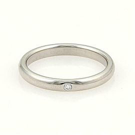 Tiffany & Co. 1 Diamond Platinum 2.5mm Dome Wedding Band Ring Size 4.25