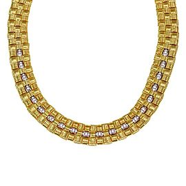 Roberto Coin Appassionata 1.50ct Diamond 18k Gold Basket Weave Necklace
