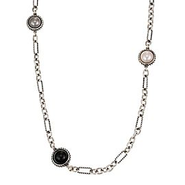 "David Yurman Multicolor Pearls 925 Silver Figaro Cable Link 40"" Long Necklace"