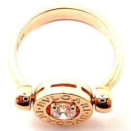 Authentic! BULGARI BVLGARI 18k Rose Gold Diamond Flip Ring
