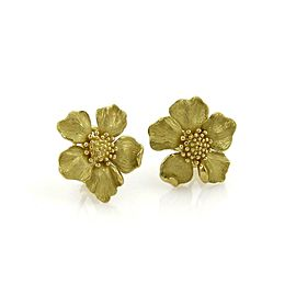 Tiffany & Co. 18k Yellow Gold Mid Size Dogwood Flower Post Clip Earrings