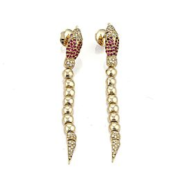 Estate 1.80ct Diamond & Ruby Snake 18k Gold Long Bead Drop Dangle Earrings