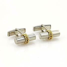 Tiffany & Co. Silver 18k Yellow Gold Long Post Stud Cufflinks