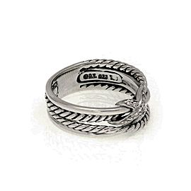 David Yurman Diamond Sterling Silver X Design 4 Row Band Ring Size 6