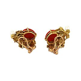 H.Stern Coral Pearls 18k Yellow Gold Textured Post Clip Earrings