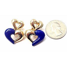 Van Cleef & Arpels 18k Yellow Gold Lapis Lazuli Heart Earrings