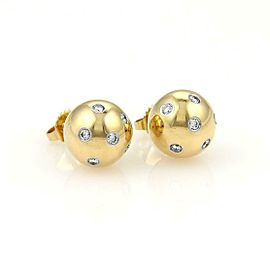 Tiffany & Co. Etoile Diamond Platinum 18k Gold 10.5mm Ball Stud Earrings