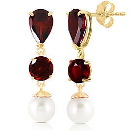 10.5 CTW 14K Solid Gold Chandelier Earrings Garnet Cultured Pearl
