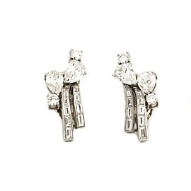 65039 Estate 4.00ct Diamond Platinum 14k White Gold Floral Clip On Earrings