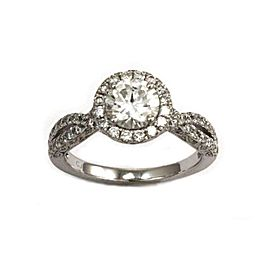 Elegant 1.71ct Round Diamond 18k White Gold Engagement Ring Certified GIA