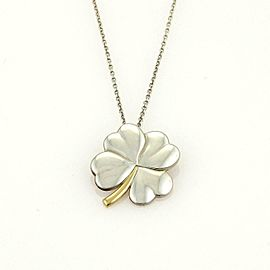 Tiffany & Co. 925 Silver 18k Yellow Gold 4 Leaf Clover Pendant & Chain