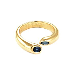Cartier Ellipse Deux Tetes Croisees 1.20ct Sapphire 18k Yellow Gold Ring Size 56