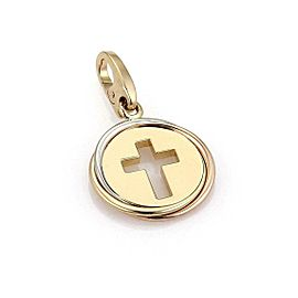 Cartier 18k Tri-Color Gold Cut Out Stencil Cross Round Pendant