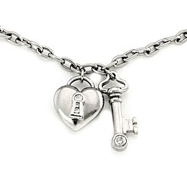 Tiffany & Co. Diamond Platinum Heart Padlock & Key Pendant Necklace