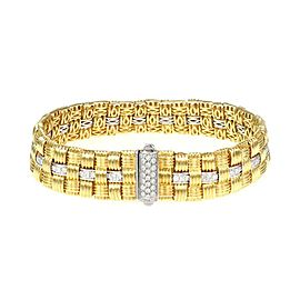 Roberto Coin Appassionata 1.18ct Diamond 18k Gold Basket Weave Bracelet