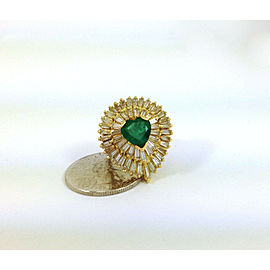 Estate 18k Y/Gold 6.75ct Heart Shape Emerald & Baguette Diamond Cocktail Ring