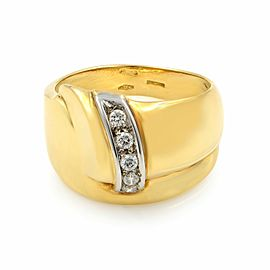 Saya 18K Yellow White Gold Cubic Zirconia Ladies Ring 0.07 Cttw Size 8