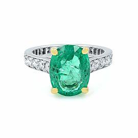 Rachel Koen 18k Gold Green Emerald and Diamonds Engagement Ring Size 4.5
