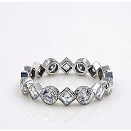 Rachel Koen 1.98cts Carre Round Cut Diamonds Platinum Eternity Band Size 6.25