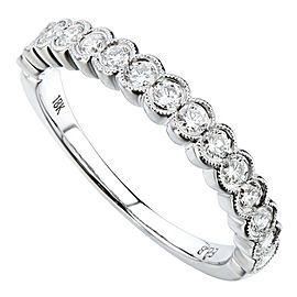 Rachel Koen 18K White Gold 0.49cts Genuine Diamond Pave Ladies Ring Size 6.5