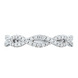 Rachel Koen 18K White Gold 0.32cts Genuine Twist Diamond Pave Ladies Ring SZ 6.5