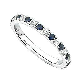 18K White Gold 0.42cts Genuine Diamond Sapphire Pave Ladies Ring Size 6.5