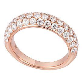 18K Rose Gold 1.65cts Genuine Diamond Pave Ladies Ring Size 6.5