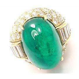 David Webb 18k Yellow Gold Diamond Large Colombian Emerald Ring AGL