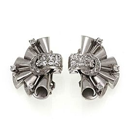 Retro 2.00ct Diamond 14k White Gold Fancy Floral Post Clip Earrings