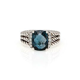 David Yurman Diamond Blue Topaz 925 Silver 3 Row Cable Cocktail Ring