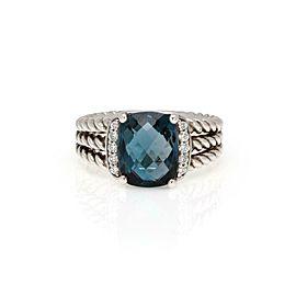 David Yurman Diamond Blue Topaz 925 Silver 3 Row Cable Cocktail Ring